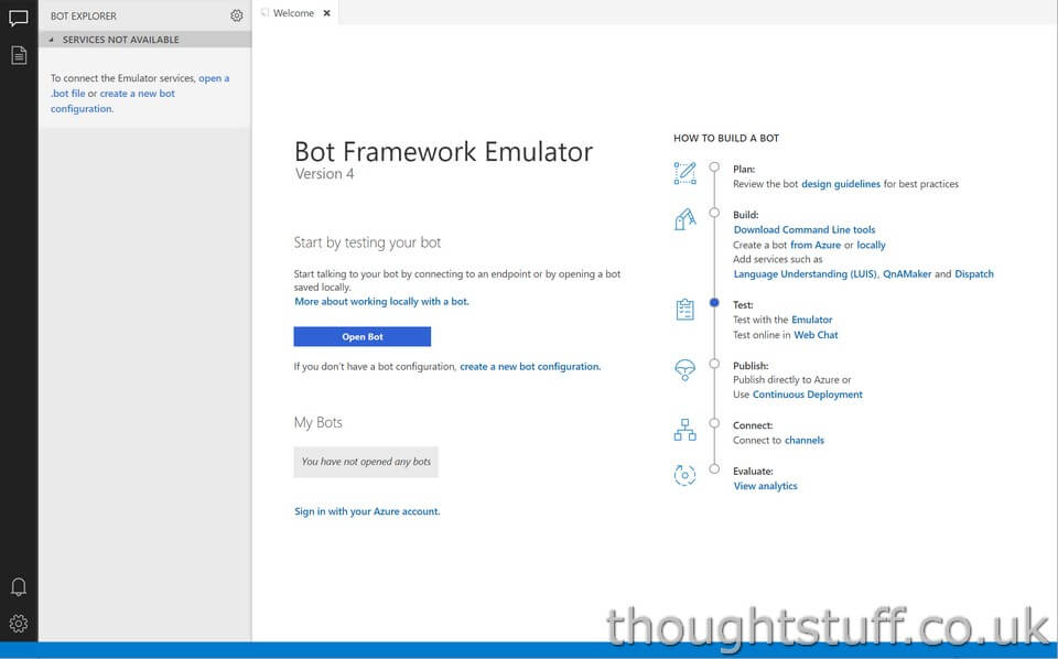 Your first Web App Bot – using the local Bot Framework Emulator